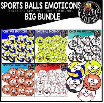 Sports Balls Emoticons Clip Art Big Bundle {Educlips Clipart}