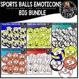 Sports Balls Emoticons Clip Art Big Bundle {Educlips Clipart}