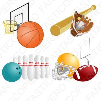 Sports Basket baseball bowling football clipart JPG files and PNG files.