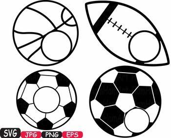 Sports Basketball Soccer Football Tennis clipart monogram svg t-shirt -431S