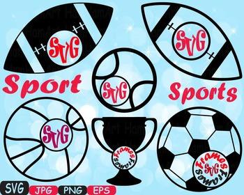 Sports Basketball Soccer Football Tennis clipart monogram