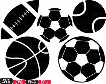 Sports Basketball Soccer Football Tennis silhouette cutting clipart svg -429S
