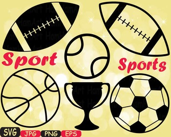 Sports Basketball Soccer Football Tennis silhouette cuttin