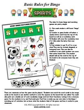 Sports Bingo / Matching Activities