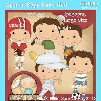 Sports Boys Dark Hair Clip Art Color  personal & comm use Primsy Resale