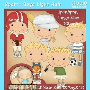 Sports Boys Light Hair Clip Art Color  personal & comm use Primsy Resale