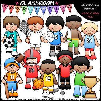 Sports Boys Clip Art - Sports Kids Clip Art & B&W Set