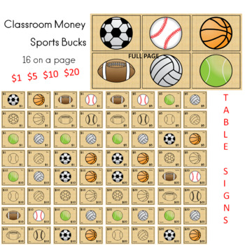 Sports Bucks Classroom Money
