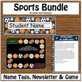 Sports Bundle: Name Tags, Newsletter & Game Board