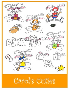Sports Bunnies Clip Art Collection