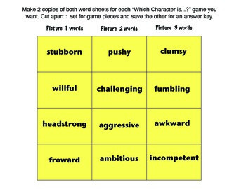 Sports Character Trait Synonym Games and Practice with the Common Core