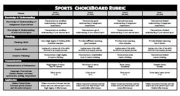 Sports ChoiceBoard (+ Rubric)