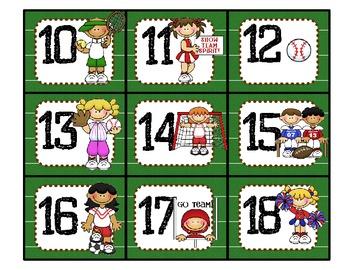Sports Classroom Calendar Numbers