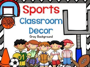 Sports Classroom Decor - Gray Background