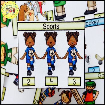 Sports Count and Clip Sports Task Cards