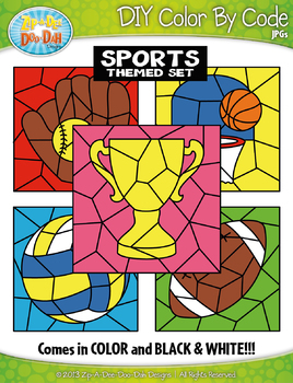 Sports Color By Code Clipart {Zip-A-Dee-Doo-Dah Designs}