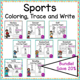 Sports Coloring Cut Paste and Write Independent Work Packets