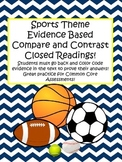 Compare Contrast Evidence Based Sports Close Reading   Common Core Test Prep!