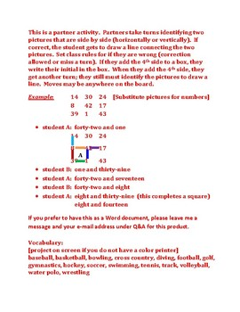Sports Connect the Dots Squares game