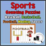 Sports Number Puzzles - Baseball, Basketball, Football Math- Football Activities