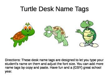 Desk Name Plates -- Turtles