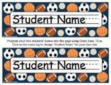 Sports Desk Tags, Labels & Signs: Editable, Back to School #christmasinjuly