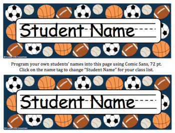 Sports Desk Tags, Name Tags, Labels & Signs: Editable, Back to School