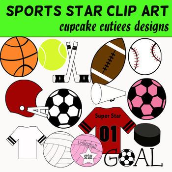 Sports Digital CLip Art Set- Baseball Football Soccer Basketball Set