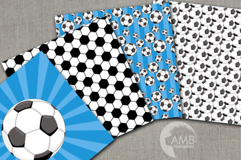 Sports Digital Paper, Blue Soccer Papers and Backgrounds AMB-1971