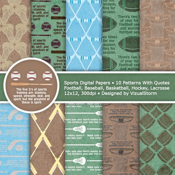 Sports Digital Paper, 10 Printable Sports Patterns With Famous Quotes