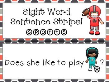 Sight Word Sentence Strips: Sports Set