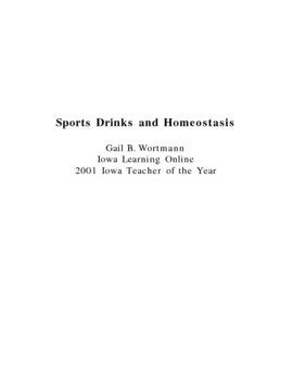 Sports Drinks and Homeostasis Inquiry Lesson