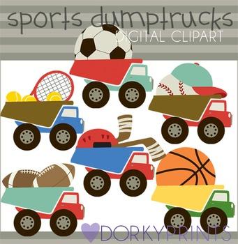 Sports Dump Truck Digital Clip Art