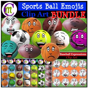 Sports Emoji Clipart BUNDLE 1 | Sports Balls Clip Art