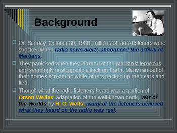 Sports & Entertainment - War of the World's Radio Broadcast
