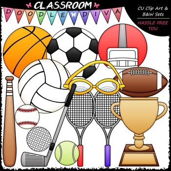 Sports Equipment Clip Art & B&W Set