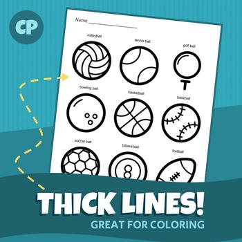 Sports Equipment Coloring Sheet | Printable PDF