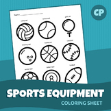 Sports Equipment Coloring Sheet | Printable PDF