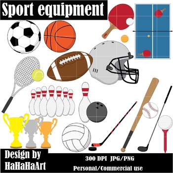 Sports Equipment / Gear Digital Clip Art Graphics 24 images cod12
