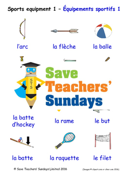 Sports Equipment in French Worksheets, Games, Activities a