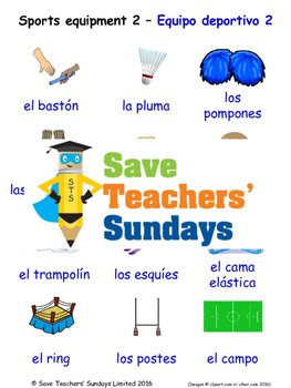 Sports Equipment in Spanish Worksheets, Games, Activities and Flash Cards (2)