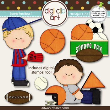 Sports Fan Boys 1-  Digi Clip Art/Digital Stamps - CU Clip Art