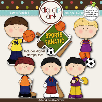 Sports Fanatic 1-  Digi Clip Art/Digital Stamps - CU Clip Art