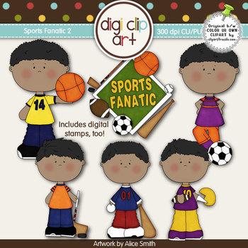 Sports Fanatic 2-  Digi Clip Art/Digital Stamps - CU Clip Art