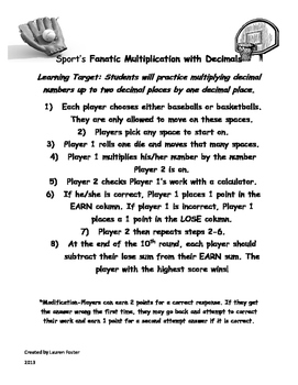 Sport's Fanatic Multiplication with Decimals Game