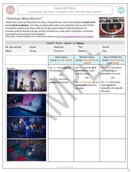 Sports & Fitness (A): Practice modals with Ninja Warrior (Adult ESL)