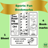 Sports Fun-Themed Printable Bookmarks (coloring page, 4-pack)