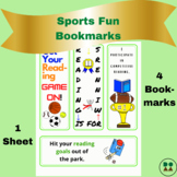 Sports Fun-Themed Printable Bookmarks (full color, 4-pack)
