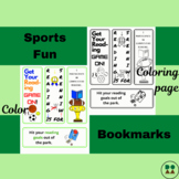 Sports Fun-Themed Printable Bookmarks (full color & coloring pg, 4-packs)