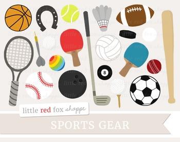 Sports Gear Clipart; Football, Baseball, Soccer, Tennis, B